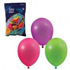 Шары воздушные 10 25 см, комплект 100 шт., 12 неоновых цветов, в пакете, 1101-0002