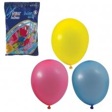 Шары воздушные 10 25 см, комплект 100 шт., 12 пастельных цветов, в пакете, 1101-0003