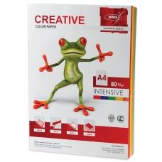 Бумага CREATIVE color Креатив, А4, 80 г/м2, 100 л. 5 цв.х20 л., цветная интенсив, БИpr-100r