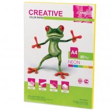 Бумага CREATIVE color Креатив, А4, 80 г/м2, 50 л., неон желтая, БНpr-50ж