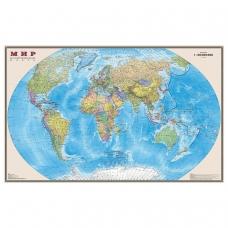 Карта настенная Мир. Политическая карта, М-1:20 млн., размер 156х101 см, ламинированная, тубус, 295