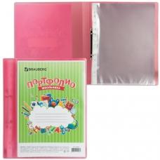 Папка для портфолио школьника, 2 кольца, 20 файлов, пластик полупрозрачный, красная, BRAUBERG, 126558