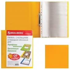 Папка для портфолио и презентаций, 2 кольца, 20 файлов, пластик, желтая, BRAUBERG, 126676