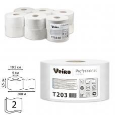Бумага туалетная 200 м, VEIRO Professional Система T2, комплект 12 шт, Comfort, 2-слойная, T203