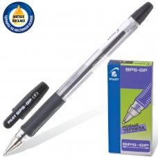 Ручка шариковая масляная с грипом PILOT BPS-GP, ЧЕРНАЯ, корпус прозрачный, узел 0,7 мм, линия письма 0,32 мм, BРS-GP-F