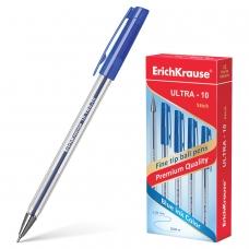 Ручка шариковая масляная ERICH KRAUSE Ultra-10, СИНЯЯ, корпус прозрачный, узел 0,7 мм, линия письма 0,26 мм, 13873