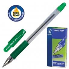 Ручка шариковая масляная с грипом PILOT BPS-GP, ЗЕЛЕНАЯ, корпус прозрачный, узел 0,7 мм, линия письма 0,32 мм, BPS-GP-F