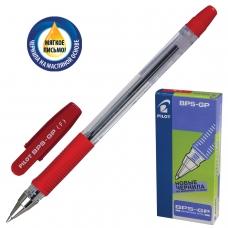 Ручка шариковая масляная с грипом PILOT BPS-GP, КРАСНАЯ, корпус прозрачный, узел 0,7 мм, линия письма 0,32 мм, BPS-GP-F