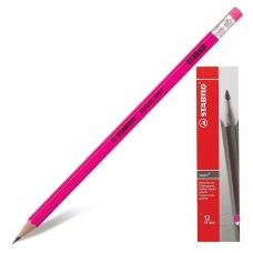 Карандаш чернографитный STABILO, 1 шт., Swano, HB, корпус неоновый розовый, с ластиком, заточенный, 4907/040HB