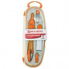 Готовальня BRAUBERG Modern, 5 предметов: циркуль 135 мм, резинка, точилка, отвёртка, грифель