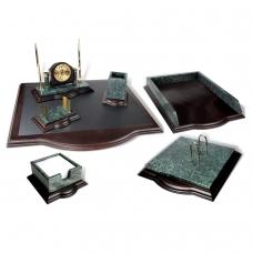 Набор настольный GALANT из мрамора, 7 предметов зеленый мрамор с золотистой отделкой, красное дерево, часы, 231485