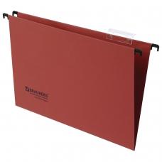 Подвесные папки картонные BRAUBERG, комплект 10 шт., 370х245 мм, 80 л., Foolscap, красные, 230 г/м2, табуляторы, 231796