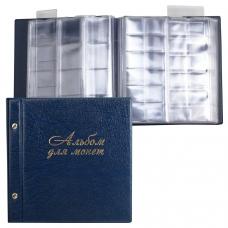 Альбом для монет и купюр на винтах универсальный, 224х224 мм, на 216 монет до D-45 мм, выдвижные карманы, синий, ДПС, 2855-201
