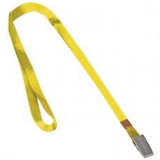 Лента для бейджей, 45 см, металлический клип, желтая, BRAUBERG, 235736