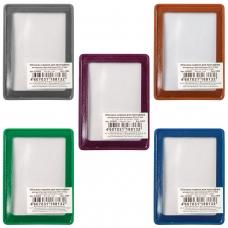 Обложка-карман для проездных документов, ПВХ, в цветной рамке, ассорти, 69х92 мм, ДПС, 2204