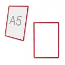 Рамка POS МАЛОГО ФОРМАТА для рекламы и объявлений 210х148,5 мм, А5, КРАСНАЯ, без защитного экрана, 290260