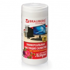 Чистящие салфетки BRAUBERG для экранов и пластика, универсальные, 'Астра', в тубе 100 шт., влажные, 511689