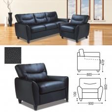 Кресло Наполи, 800х900х800 мм, c подлокотниками, экокожа, черное