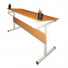 Стол-парта 2-местный, регулируемый угол 1200х500х520-640 мм, рост 2-4, серый каркас, ЛДСП, бук, Ш-304 2-4 М