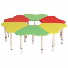 Стол детский Ромашка, 6 лепестков, 1300х1300х400-580 мм, регулируемый, рост 0-3 85-145 см, 3 цвета