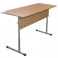 Стол-парта 2-местный регулируемый 'Бюджет', 1200х500х640-760 мм, рост 4-6, серый каркас, ЛДСП бук