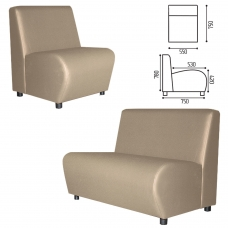 Кресло мягкое V-600, 550х750х780 мм, без подлокотников, экокожа, бежевое
