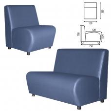 Кресло мягкое V-600, 550х750х780 мм, без подлокотников, экокожа, голубое