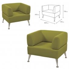 Кресло мягкое V-700, 730х820х720 мм, c подлокотниками, экокожа, светло-зеленое