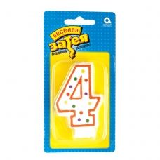 Праздничная свеча цифра 4 высотой 7,6 см