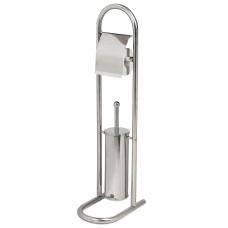 Держатель для туалетной бумаги и ерша ЛАЙМА, напольный, нержавеющая сталь, зеркальный, 601619