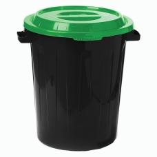 Контейнер 60 литров для мусора, БАК+КРЫШКА высота 55 см, диаметр 48 см, ассорти, IDEA, М 2393/СЕРЫЙ