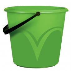 Ведро 6л, без крышки, пластиковое, пищевое, с глянцевым узором, цвет зеленый, мерная шкала, ЛАЙМА, ЦВП-6
