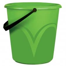 Ведро 10 л, без крышки, пластиковое, пищевое, с глянцевым узором, цвет зеленый, мерная шкала, ЛАЙМА, ЦВП-10