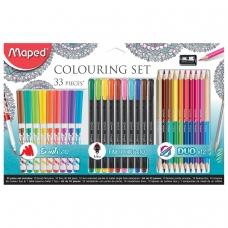 Набор для творчества MAPED GraphPeps, 10 фломастеров, 10 капиллярных ручек, 12 двусторонних цветных каранд., точилка, блистер, 897417