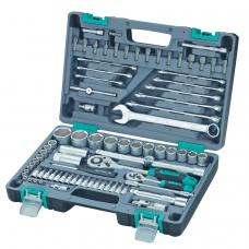 Набор инструментов, 82 предмета, STELS, 1/4,1/2, квадрат, CrV, пластиковый кейс, 14105